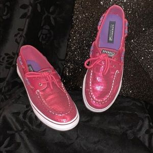 Girl's Pink Sequin Sherry Top Sider Shoes Size 5